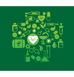 Medical cross with health icon set vector
