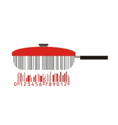 Frying pan and barcode vector