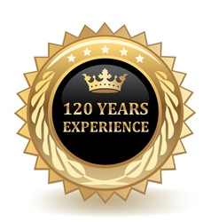 Hundred and twenty years experience badge vector