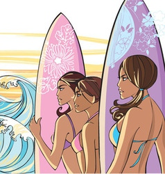 3 ladies with surf boards vector