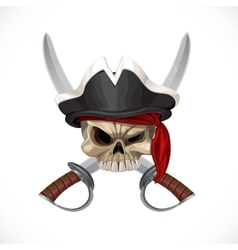 Jolly roger in pirat hat and with sabers vector