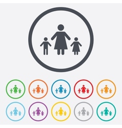 One-parent family with two children sign icon vector
