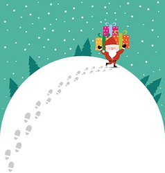 Abstract christmas with santa claus and gift vector