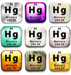 A button showing the element mercury vector