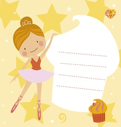 Card with little ballerina vector