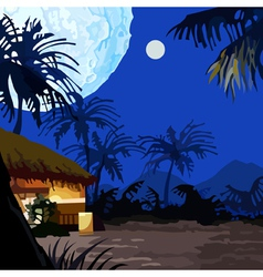 Cartoon fairy moonlit night in the tropics vector