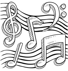 Doodle music notes vector