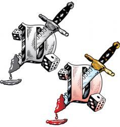 Tattoo letter d vector