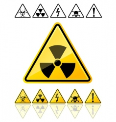 Warning symbols yellow signs vector