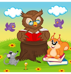 Owl reading book for animals vector