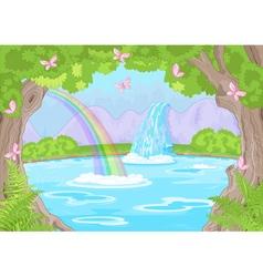 Fabulous waterfall vector