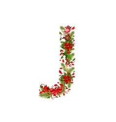 Christmas floral tree letter j vector