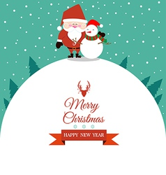 Abstract christmas with santa claus and snowman vector