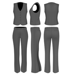 Formal black trousers suit for women vector
