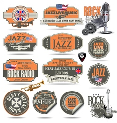 Jazz and rock music stamps and labels vector