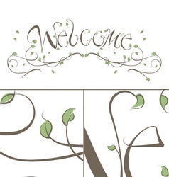 Welcome floral vines lettering vector