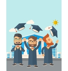 Three men throwing graduation cap vector
