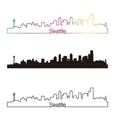 Seattle skyline linear style with rainbow vector