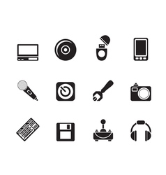 Silhouette computer and mobile phone elements icon vector