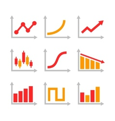 Color graph chart icons set vector