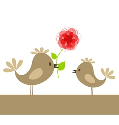 Bird with flower vector