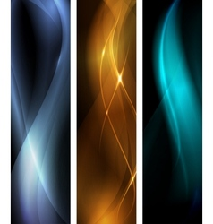 Abstract dark wave banner set vector