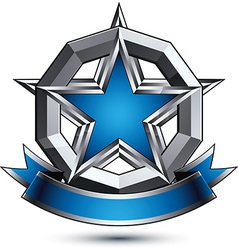 Renown silver star with wavy ribbon placed in a vector