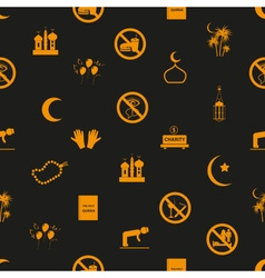 Ramadan islam holiday icons seamless pattern eps10 vector