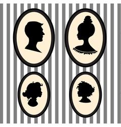 Family portrait silhouettes vector