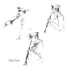Sketch of flutist vector