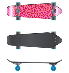A pink coloured skateboard vector