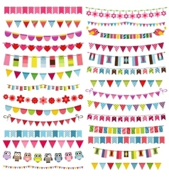 Colorful flags bunting and garland set vector