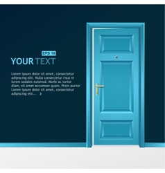 Blue door in the dark wall for text vector