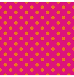 Tile pattern orange polka dots on pink background vector