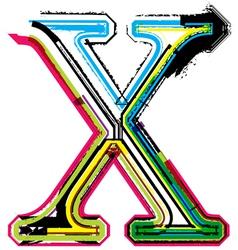 Grunge colorful font letter x vector