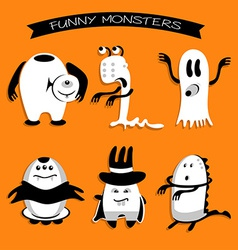 Cartoon funny monsters for halloween holiday vector
