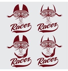 Vintage set of racer head vector