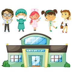 Doctors and nurses at the hospital vector