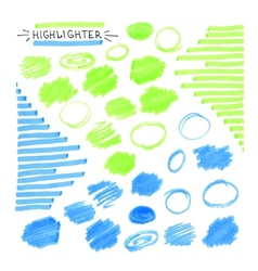 Set of blue and green fluorescent highlighter vector