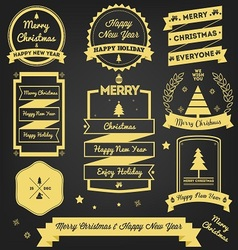 Christmas greeting label premium design vector
