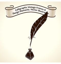 Feather pen ink calligraphic ribbon roll letter vector
