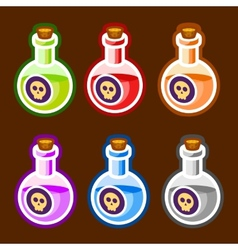 Poison cartoon bottles liquids colors elemetns vector