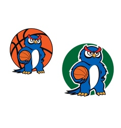 Cartoon blue owl character with basketball ball vector