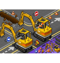 Isometric mini excavator with man at work in rear vector
