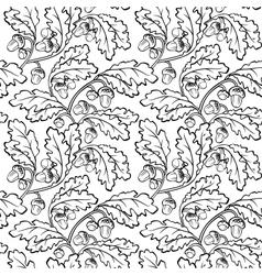 Oak leaf acorn black white seamless background vector