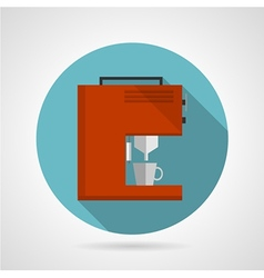 Flat color red coffee machine icon vector