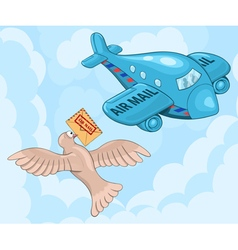 Carrier pigeon and plane vector