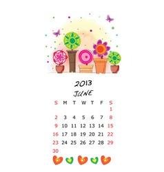 Cute 2013 picture calendar vector