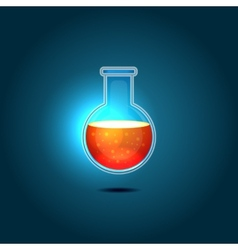 Glass chemical flask with red toxic liquid vector