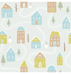 Cute winter houses pattern vector
